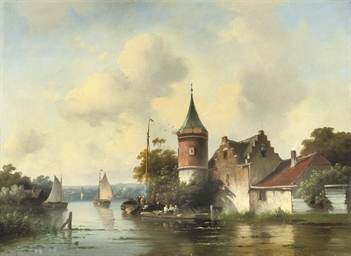 A Dutch river with a watchtowe