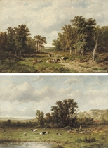 Taking a rest along the sandy path; and Cattle resting near a pond