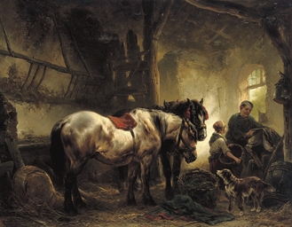 Sadling the horses