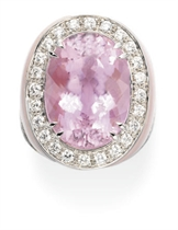 A KUNZITE, DIAMOND AND OPAL RING, BY MARGHERITA BURGENER