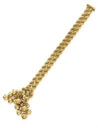 A GOLD AND DIAMOND TASSEL BRAC