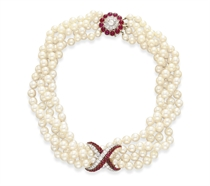 A FOUR-STRAND CULTURED PEARL, DIAMOND AND RUBY NECKLACE
