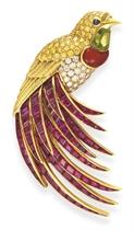 A MULTI-GEM 'BIRD OF PARADISE' BROOCH, BY VAN CLEEF & ARPELS