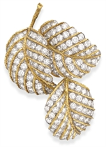 A DIAMOND AND GOLD LEAF BROOCH, BY VAN CLEEF & ARPELS