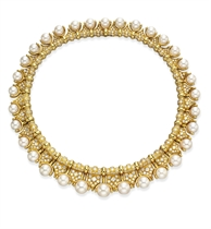 A DIAMOND AND CULTURED PEARL NECKLACE, BY BULGARI