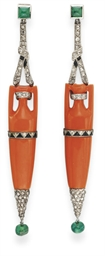 **A PAIR OF ART DECO CORAL, DI