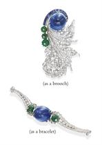 A DIAMOND, SAPPHIRE AND EMERALD BROOCH, BY PAUL FLATO