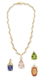 A DIAMOND AND MULTI-GEM PENDAN