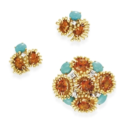 A SET OF CITRINE, TURQUIOSE, A
