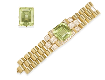 A SET OF GREEN BERYL, DIAMOND