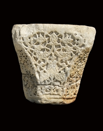 AN AYYUBID CARVED MARBLE CAPIT