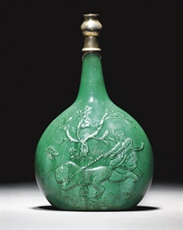 A SAFAVID MOULDED EMERALD GREE