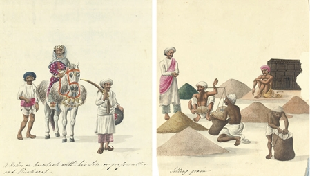 Eight watercolours depicting I