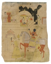 A SKETCH OF KRISHNA BEING HANDED A GARLAND OF WHITE FLOWERS,