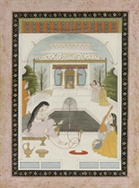 A LADY SMOKING NEAR A FOUNTAIN, GULER OR MANDI, 19TH CENTURY