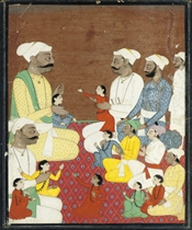 TWO HILL RAJAS WITH THEIR SONS AND GRANDSONS, PAHARI, POSSIB