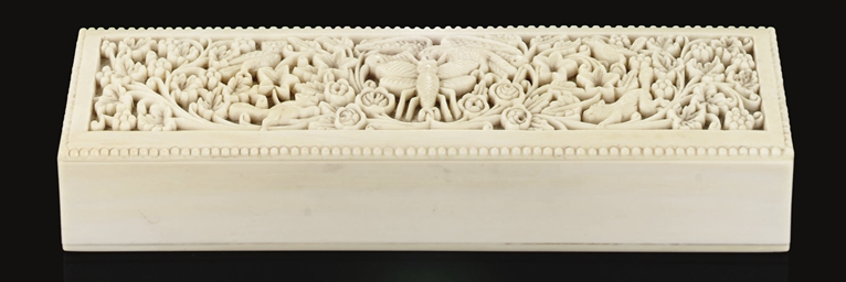 A CARVED IVORY BOX, CHINA, 19T