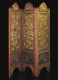 A FOLDING LACQUER SCREEN, KASH