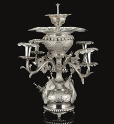A SILVER TABLE FOUNTAIN WITH C