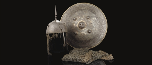 A DAMASCENED STEEL QAJAR HELME