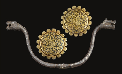 A PAIR OF GILT BOSSES AND IRON