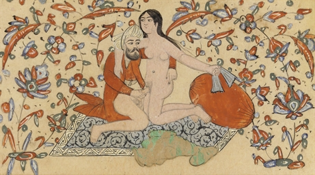 THREE QAJAR EROTIC WATERCOLOUR