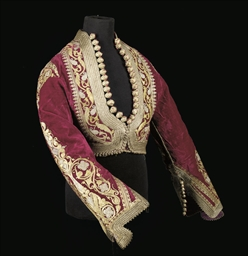 A LADY'S JACKET OF RED VELVET