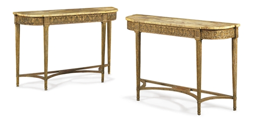 A MATCHED PAIR OF GILTWOOD AND