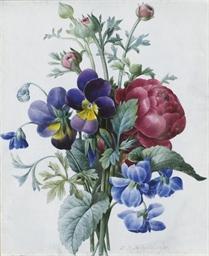 Bouquet de renoncules roses et