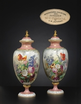 A PAIR OF COPELAND EXHIBITION PINK-GROUND VASES AND COVERS