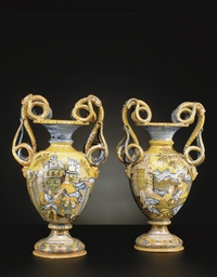 A PAIR OF ITALIAN MAIOLICA REN