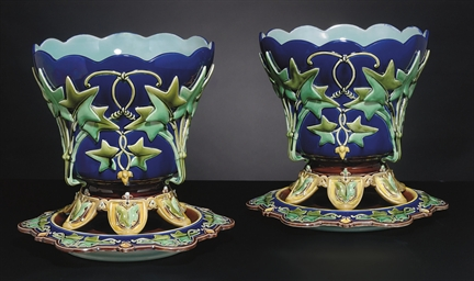 A PAIR OF FRENCH (SARREGUEMINE