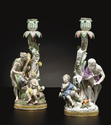 TWO MEISSEN CANDLESTICKS EMBLE