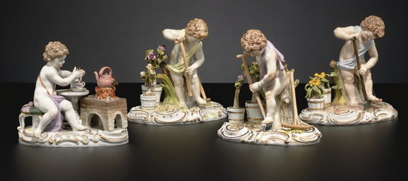 FOUR MEISSEN FIGURE GROUPS EMB