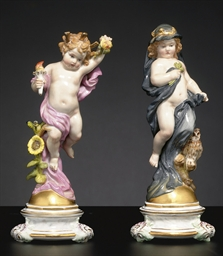 TWO MEISSEN FIGURES EMBLEMATIC