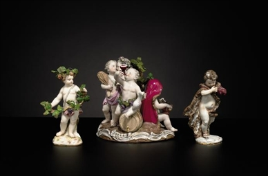 THREE MEISSEN FIGURES AND A ME