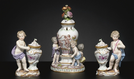 THREE MEISSEN FIGURAL VASES AN