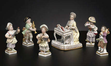 FIVE MEISSEN FIGURES ON SQUARE