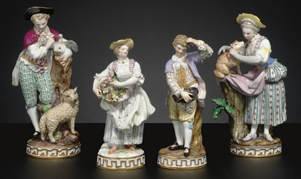FOUR MEISSEN COMPANION FIGURES