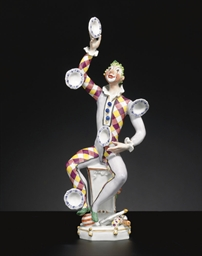 A MEISSEN FIGURE OF A JUGGLER