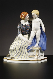 A MEISSEN FIGURE GROUP OF A MO