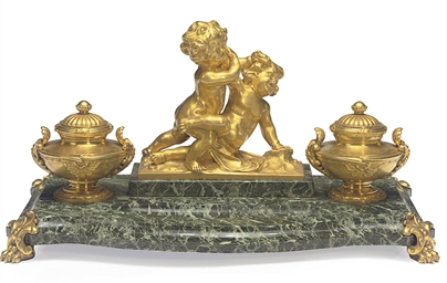 AN ORMOLU AND GREEN MARBLE ENC