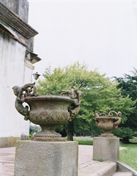 A PAIR OF FRENCH CAST-IRON URN