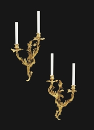 A PAIR OF FRENCH ORMOLU TWIN-L