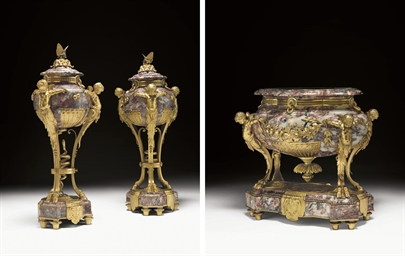 A FRENCH ORMOLU AND MARBLE THR