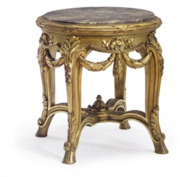 A FRENCH GILTWOOD AND MARBLE P