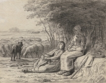 Two Shepherdesses and their Flock