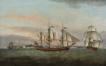 The three-masted merchantman Ann Black in two positions off the South Foreland, inbound for London, with Dover Castle off her stern