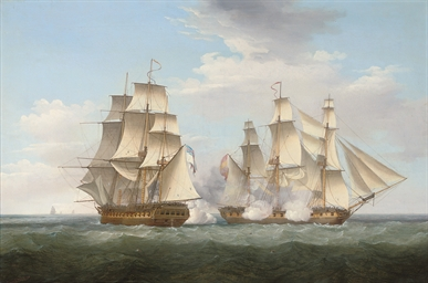 H.M.S. Ethalion in action with