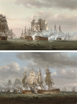In action at Trafalgar: H.M.S. Tonnant engaging the Spanish '74' Monarca; and H.M.S. Tonnant accepting Monarca's surrender